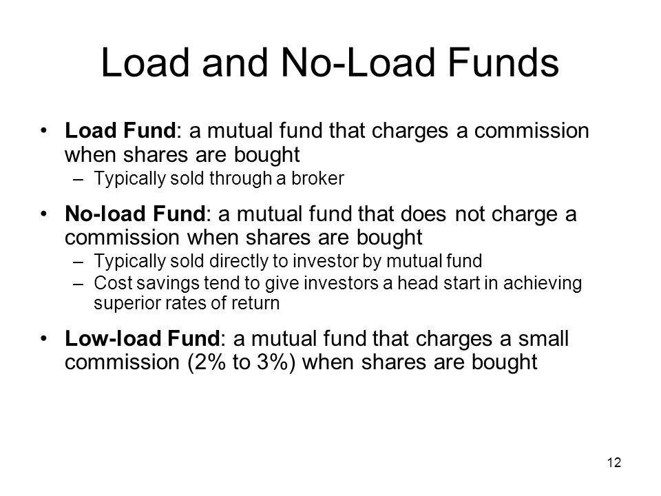 Load and No-Load Funds Load Fund: a mutual fund that charges a commission when shares are bought. Typically sold through a broker.
