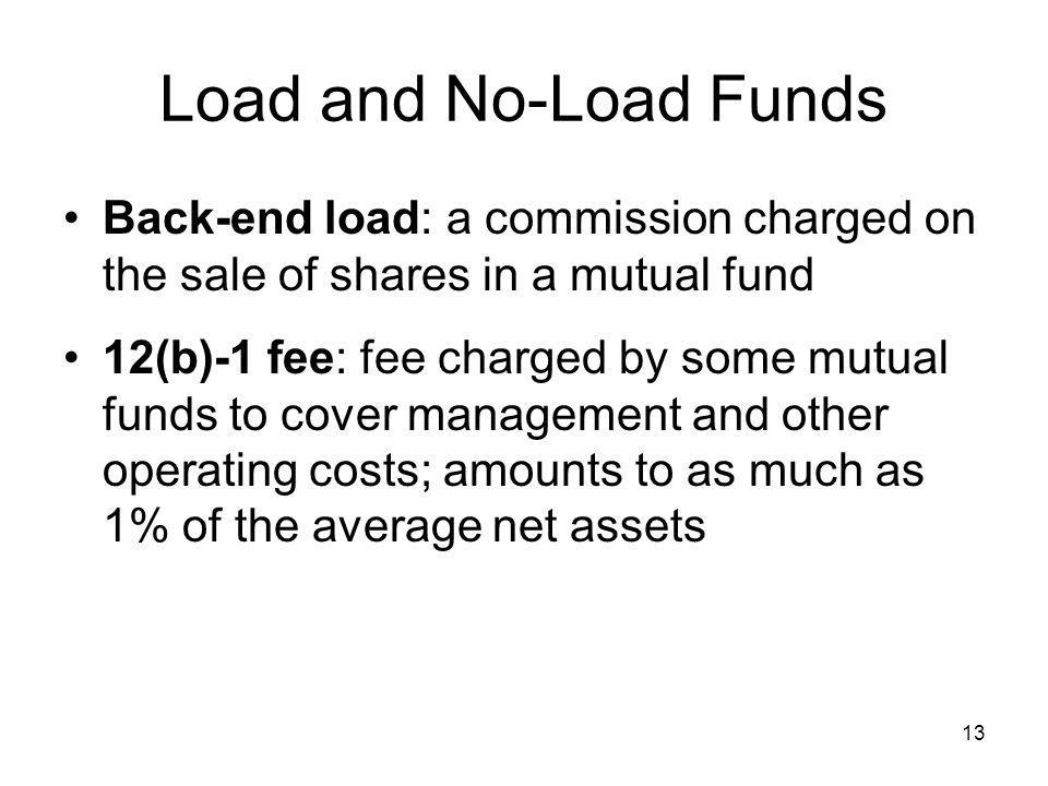 Load and No-Load Funds Back-end load: a commission charged on the sale of shares in a mutual fund.