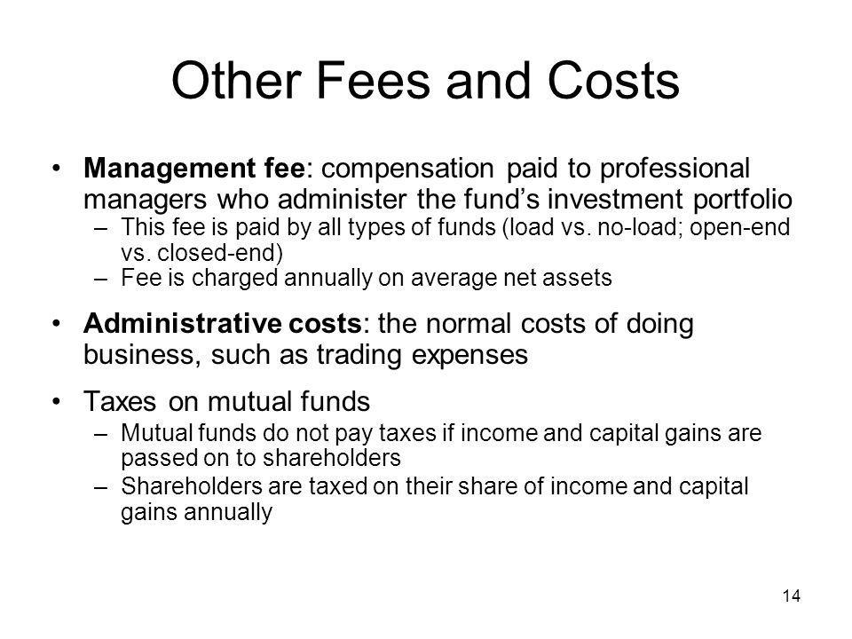 Other Fees and Costs Management fee: compensation paid to professional managers who administer the fund's investment portfolio.