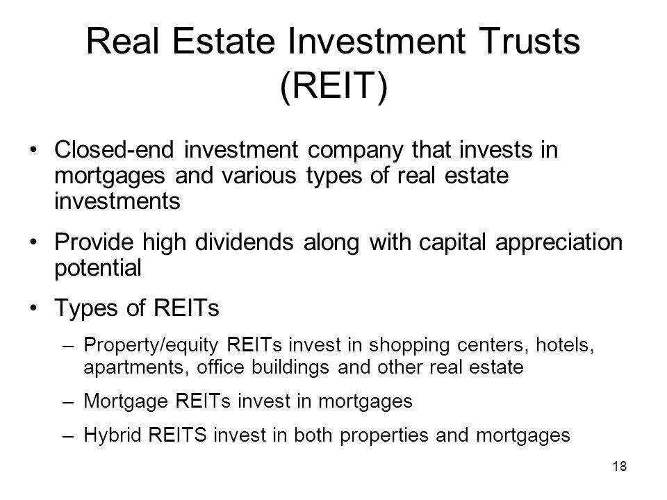 Real Estate Reit : Mutual funds professionally managed portfolios ppt