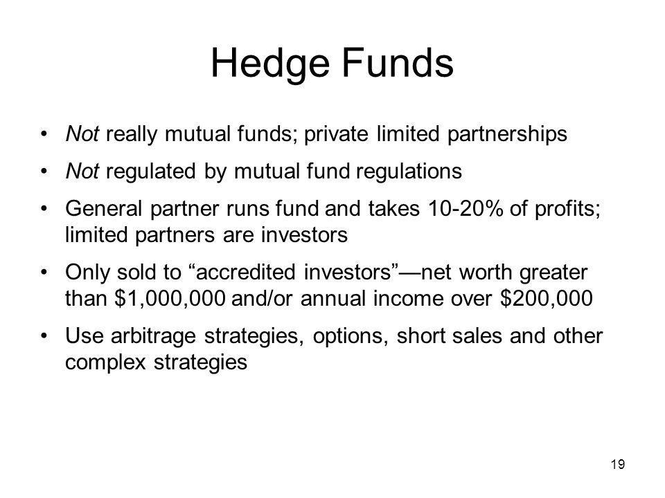 Hedge Funds Not really mutual funds; private limited partnerships