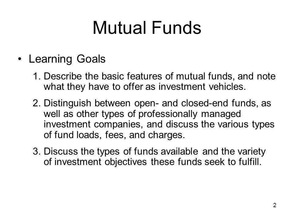 Mutual Funds Learning Goals