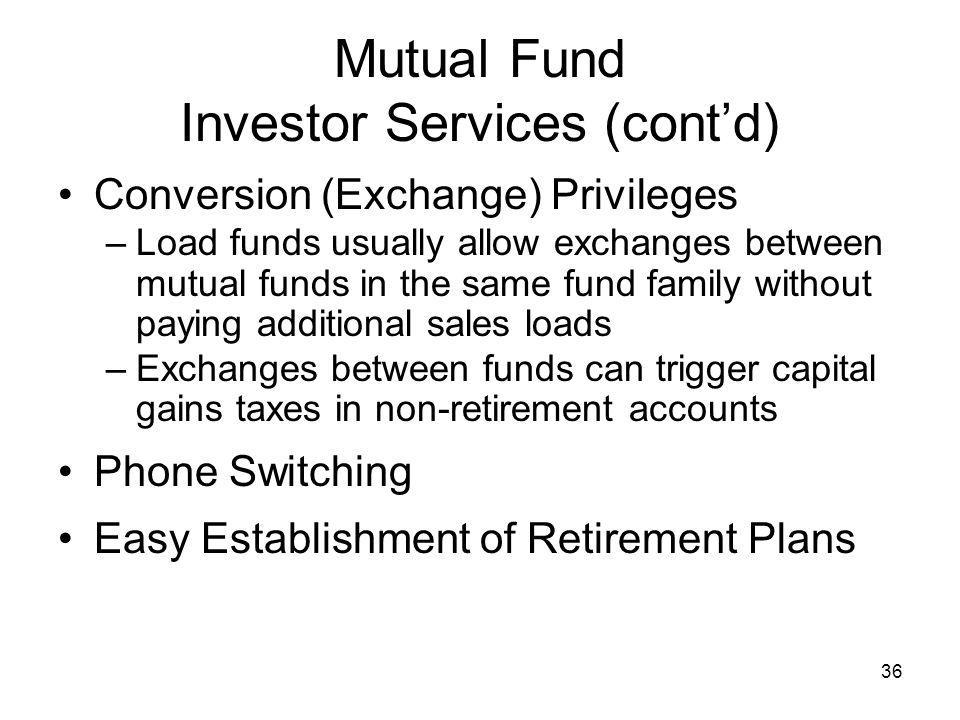 Mutual Fund Investor Services (cont'd)
