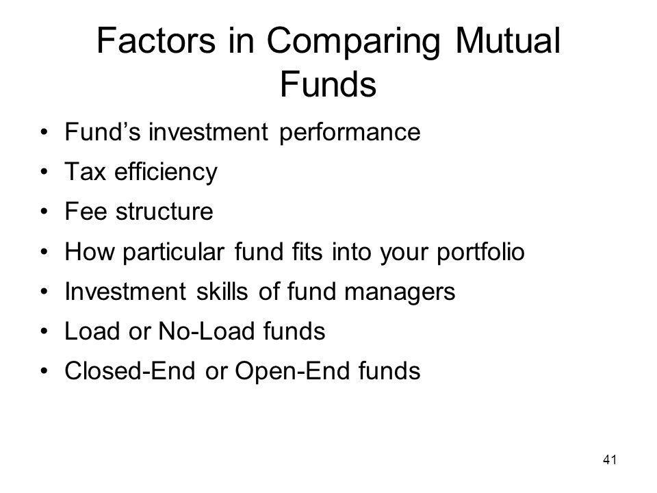 Factors in Comparing Mutual Funds