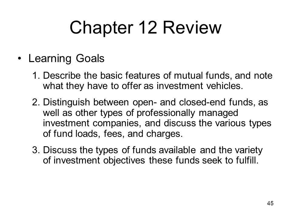 Chapter 12 Review Learning Goals