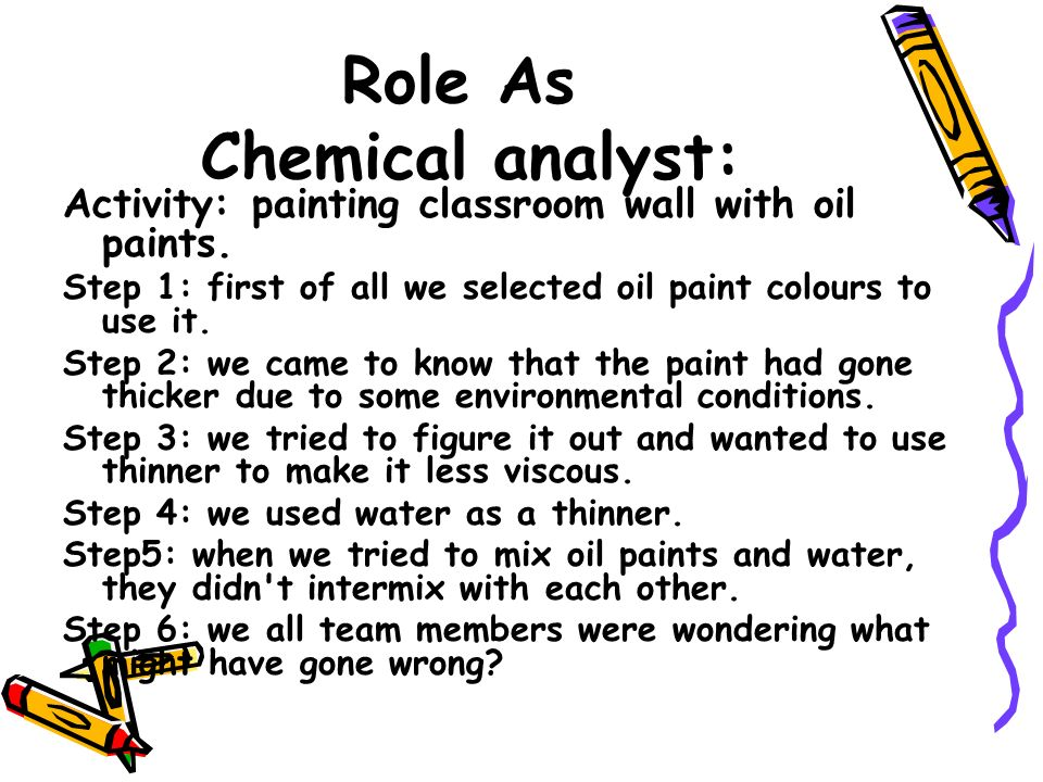Role As Chemical analyst: