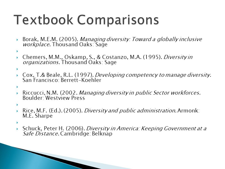 Textbook Comparisons Borak, M.E.M. (2005). Managing diversity: Toward a globally inclusive workplace. Thousand Oaks: Sage.