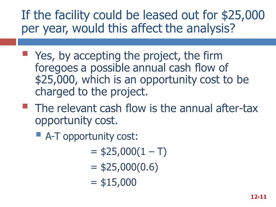 If the facility could be leased out for $25,000 per year, would this affect the analysis