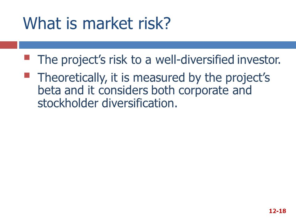 What is market risk The project's risk to a well-diversified investor.