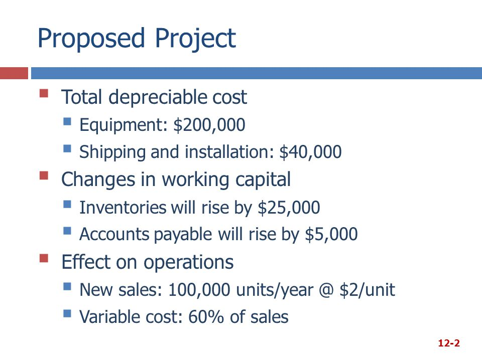 Proposed Project Total depreciable cost Changes in working capital