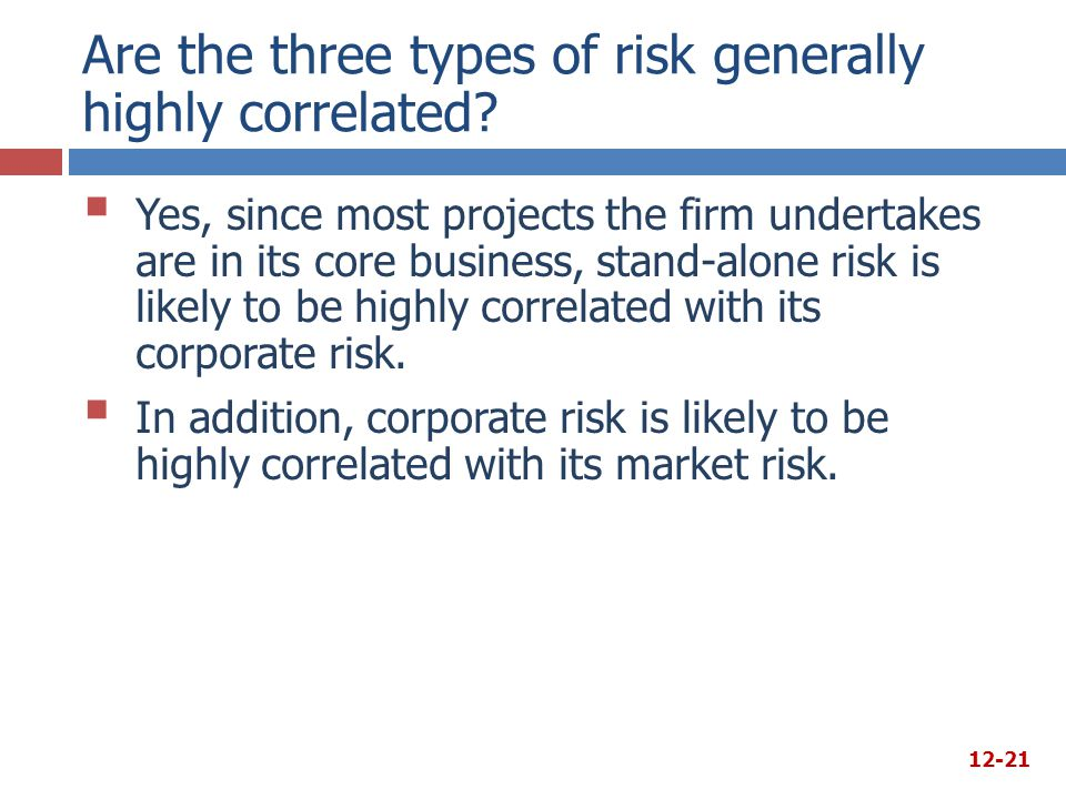 Are the three types of risk generally highly correlated