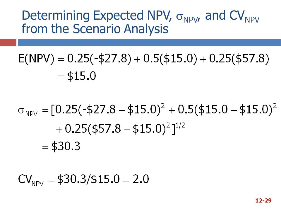 Determining Expected NPV, NPV, and CVNPV from the Scenario Analysis