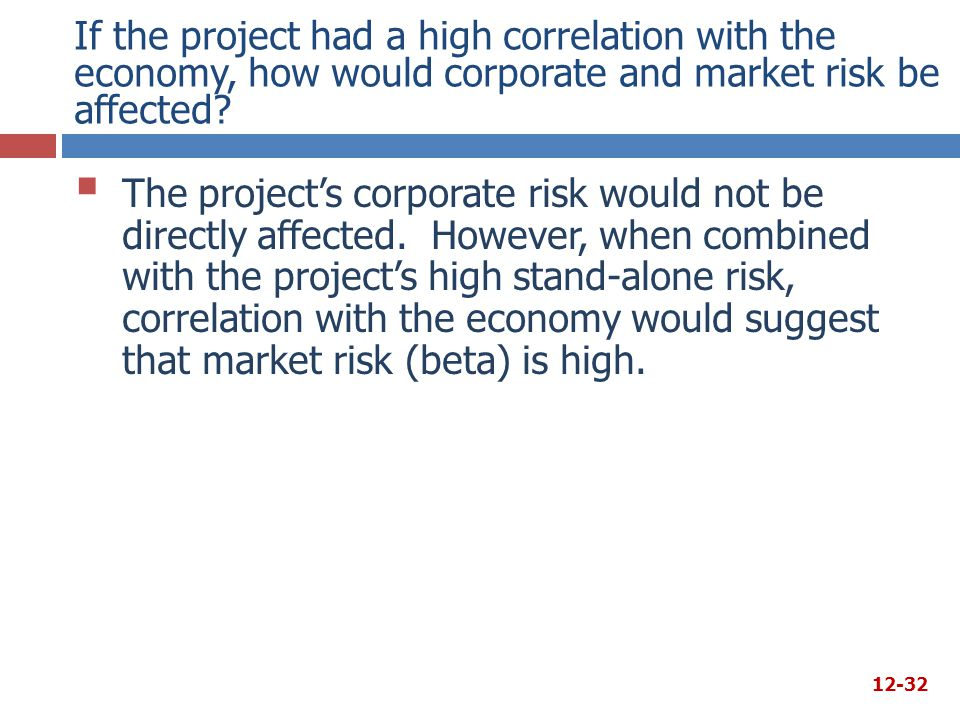 If the project had a high correlation with the economy, how would corporate and market risk be affected