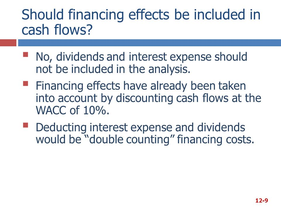 Should financing effects be included in cash flows