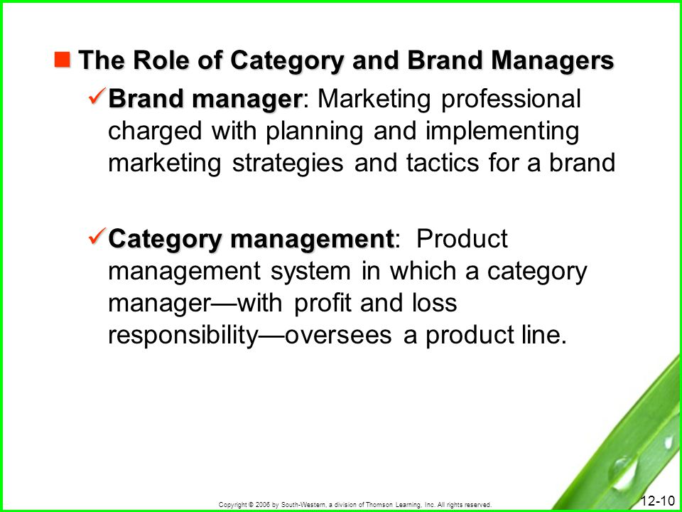 The Role of Category and Brand Managers