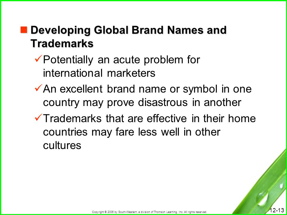 Developing Global Brand Names and Trademarks