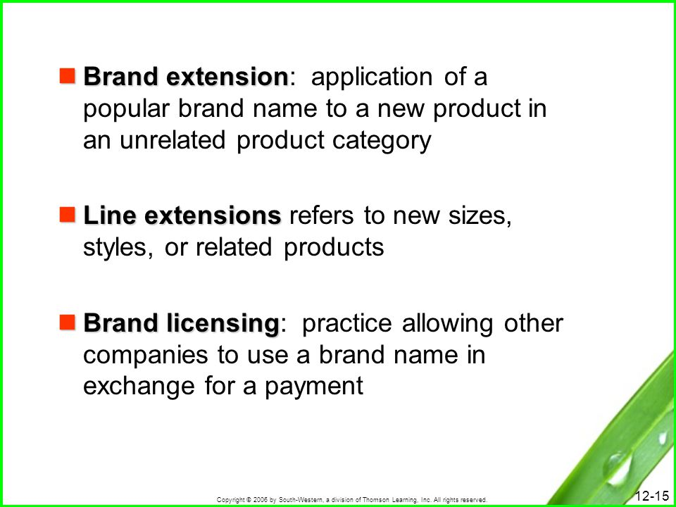 Brand extension: application of a popular brand name to a new product in an unrelated product category