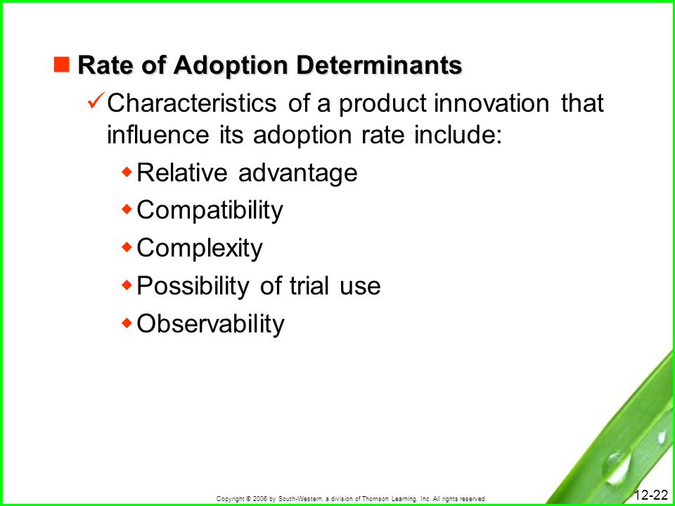 Rate of Adoption Determinants