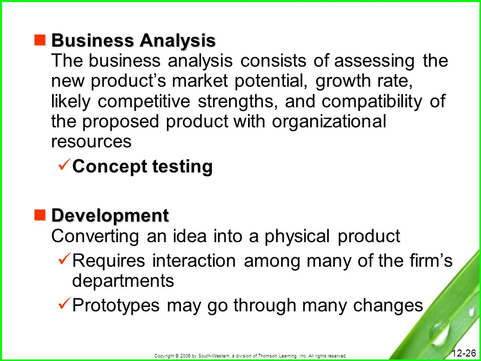 Business Analysis The business analysis consists of assessing the new product's market potential, growth rate, likely competitive strengths, and compatibility of the proposed product with organizational resources