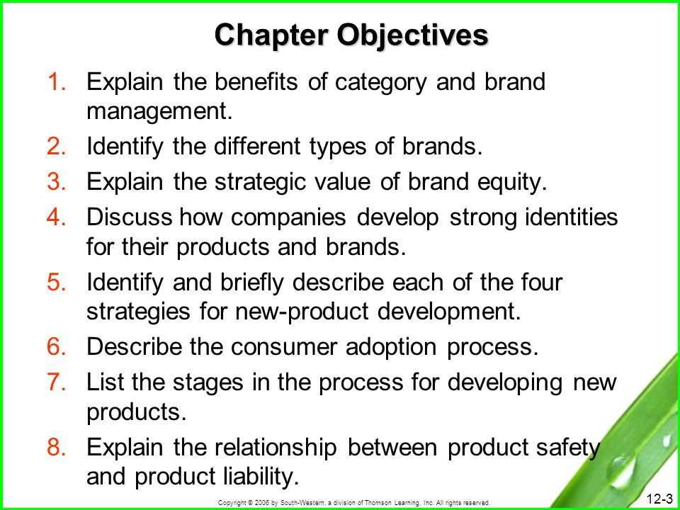 Chapter Objectives Explain the benefits of category and brand management. Identify the different types of brands.