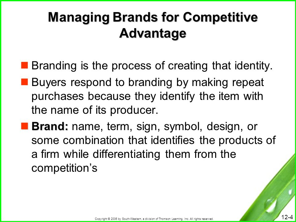 Managing Brands for Competitive Advantage