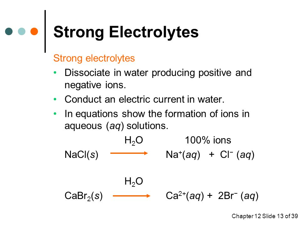 Strong Electrolytes Strong electrolytes