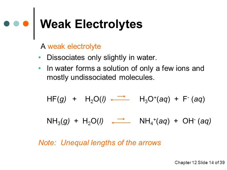 Weak Electrolytes A weak electrolyte