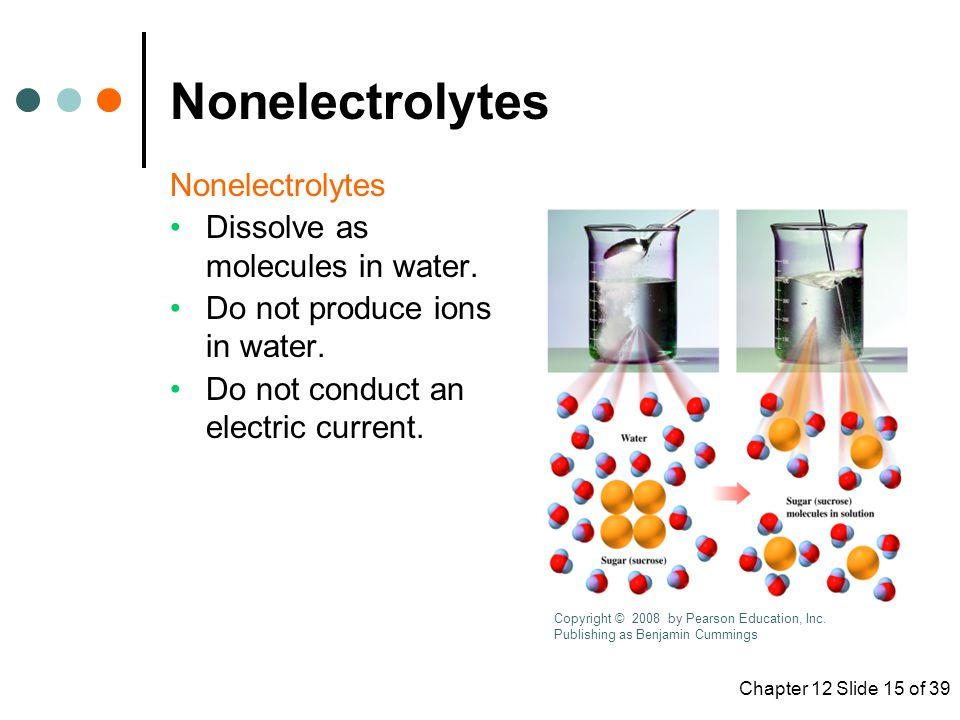 Nonelectrolytes Nonelectrolytes Dissolve as molecules in water.