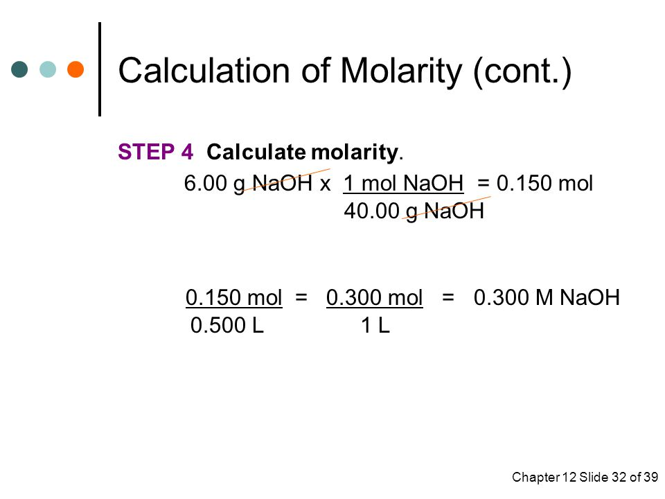 Calculation of Molarity (cont.)
