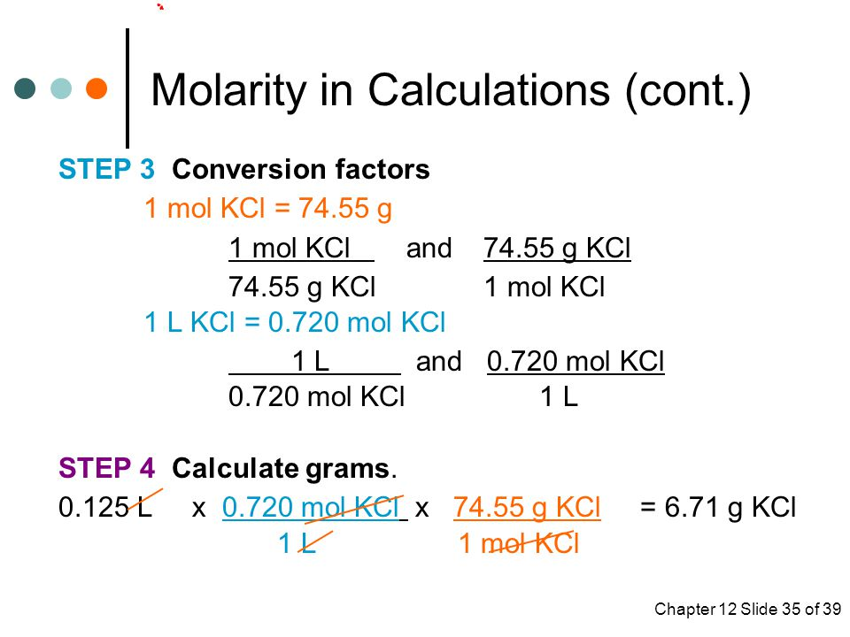 Molarity in Calculations (cont.)