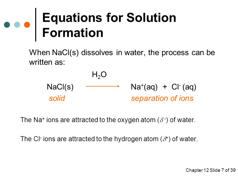 Equations for Solution Formation