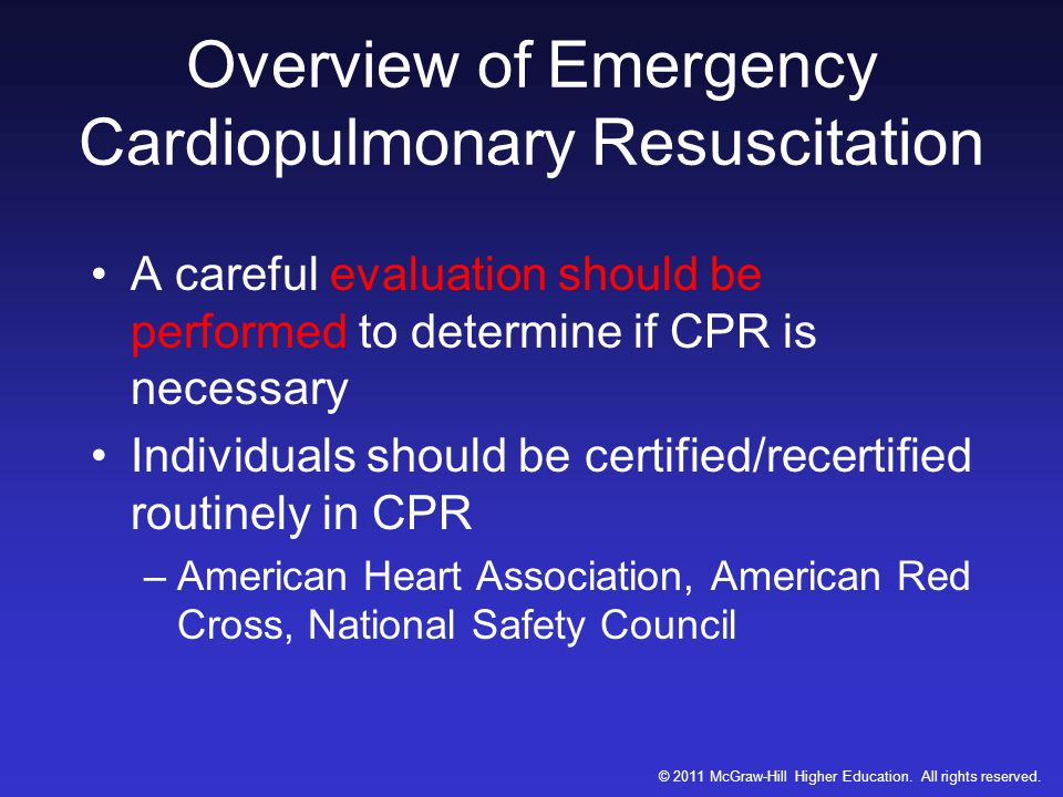 Overview of Emergency Cardiopulmonary Resuscitation
