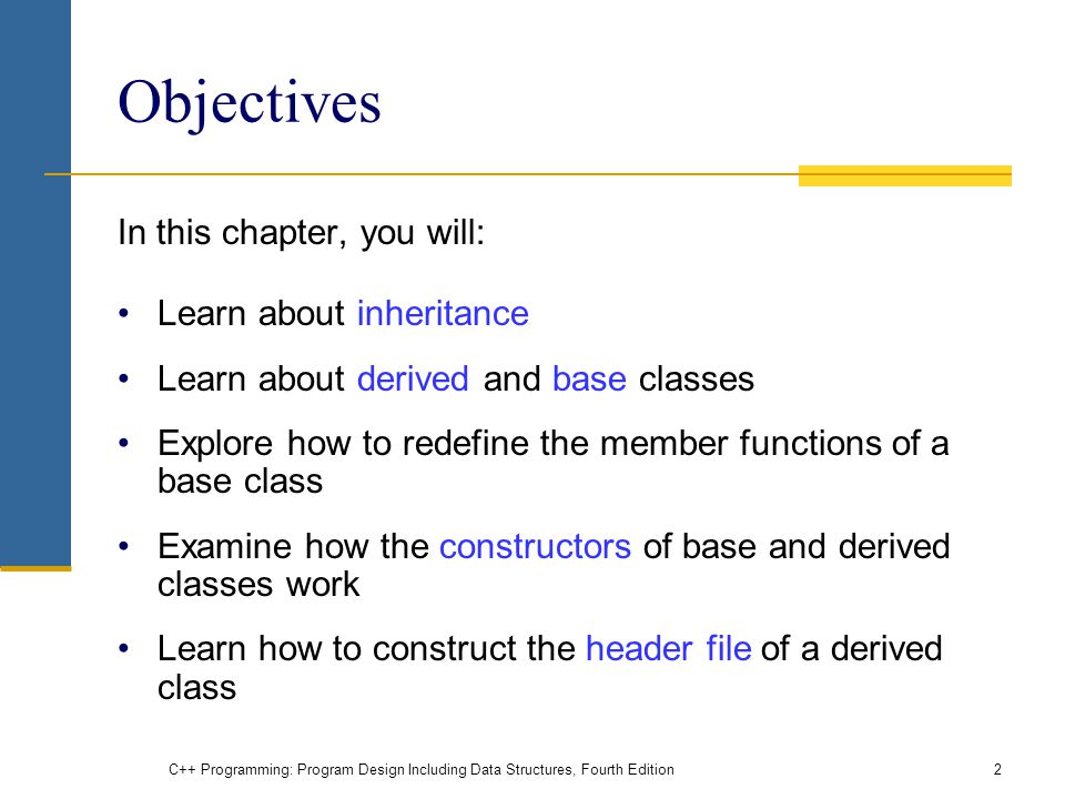 Objectives In this chapter, you will: Learn about inheritance