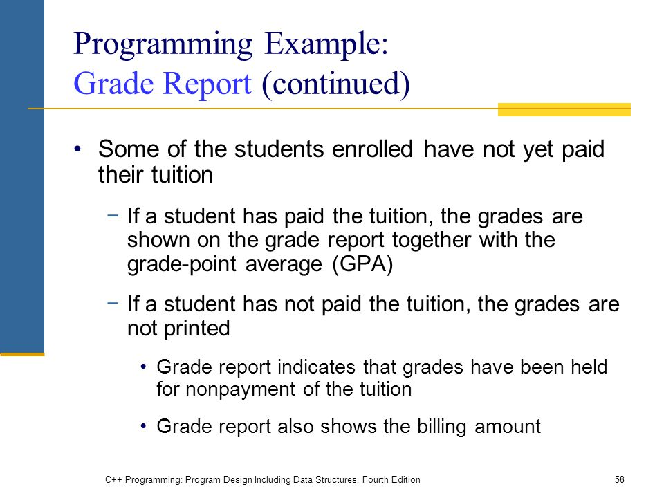 Programming Example: Grade Report (continued)