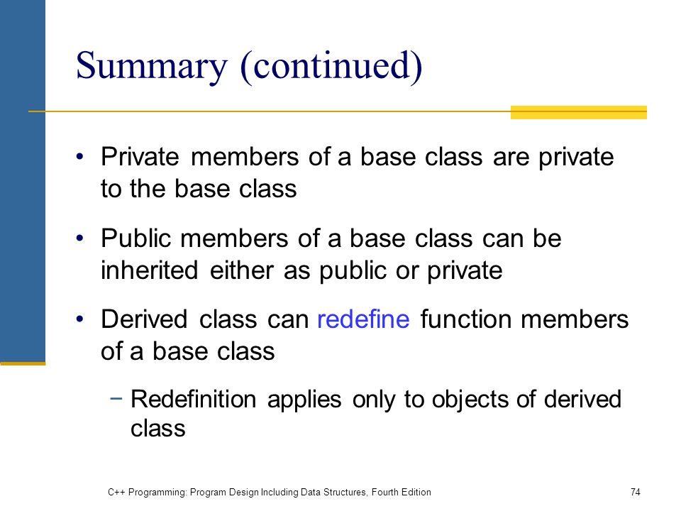 Summary (continued) Private members of a base class are private to the base class.