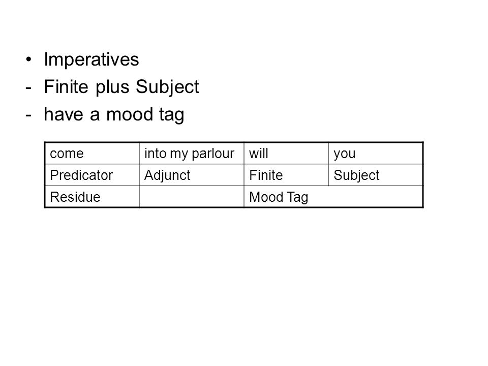 Imperatives - Finite plus Subject - have a mood tag come