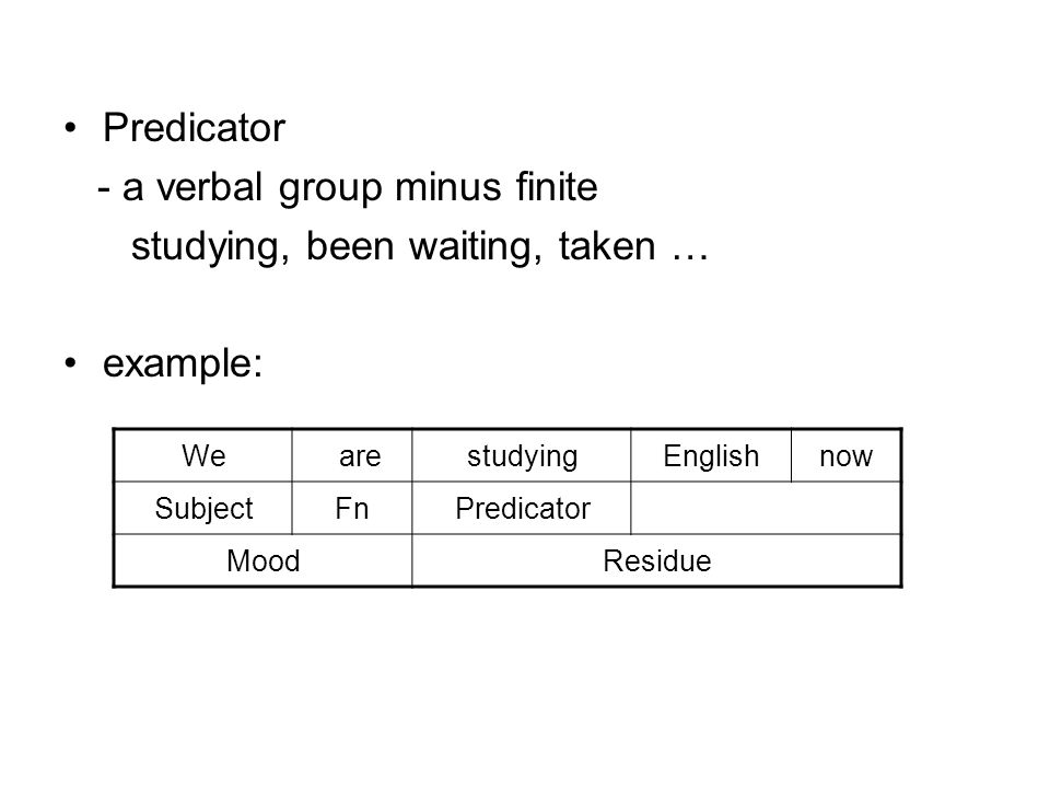 - a verbal group minus finite studying, been waiting, taken … example: