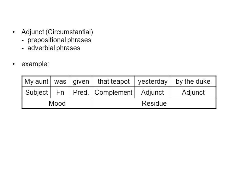 Adjunct (Circumstantial)