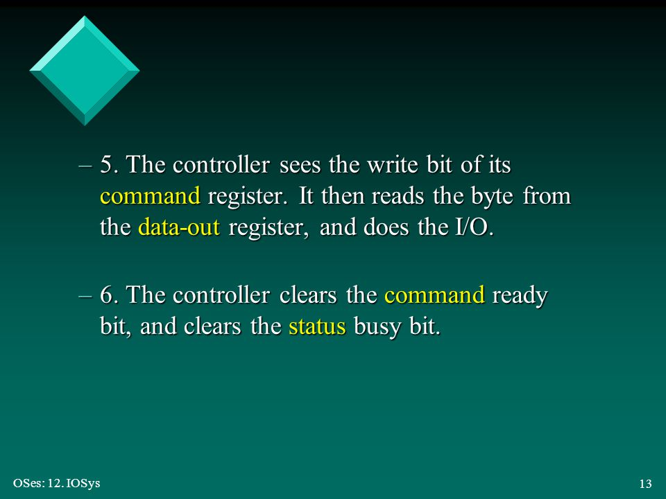 5. The controller sees the write bit of its command register
