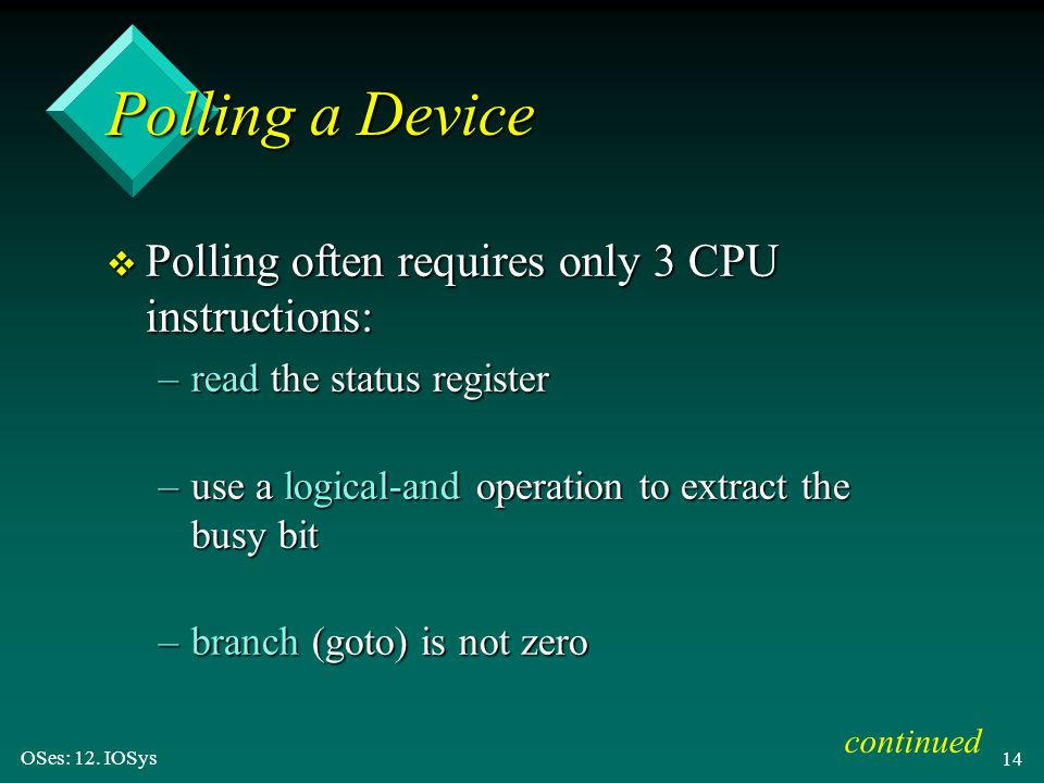 Polling a Device Polling often requires only 3 CPU instructions:
