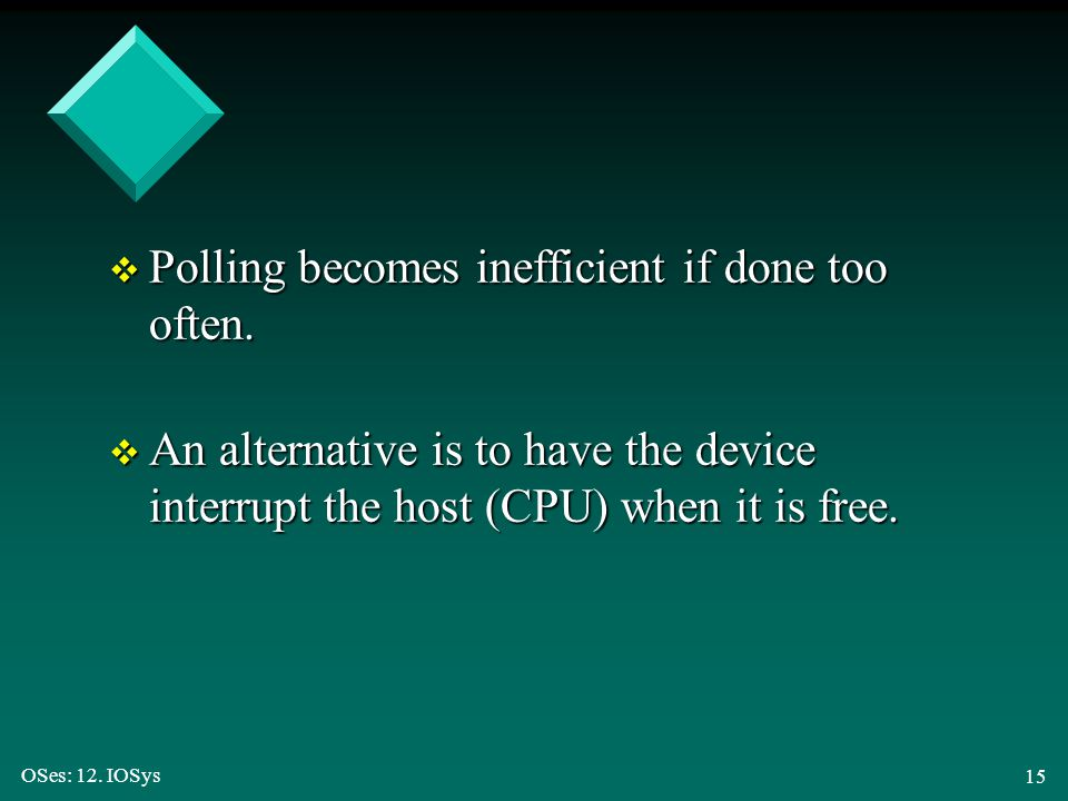Polling becomes inefficient if done too often.