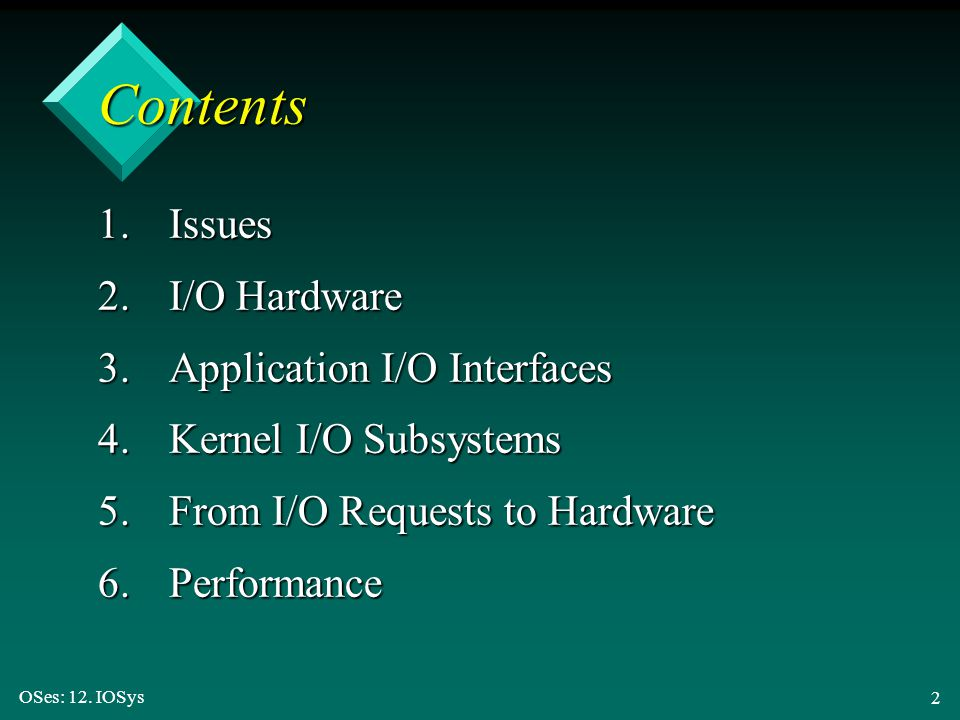 Contents 1. Issues 2. I/O Hardware 3. Application I/O Interfaces
