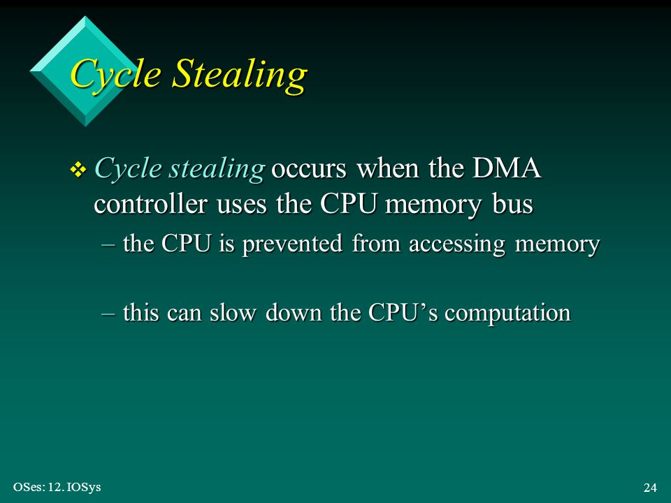 Cycle Stealing Cycle stealing occurs when the DMA controller uses the CPU memory bus. the CPU is prevented from accessing memory.