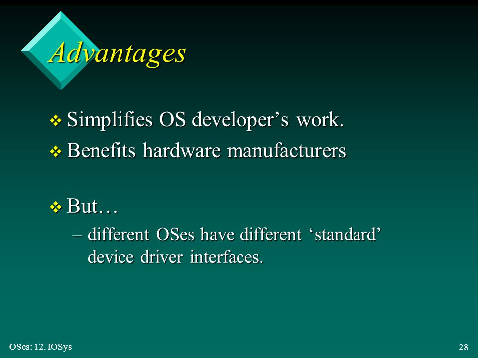 Advantages Simplifies OS developer's work.