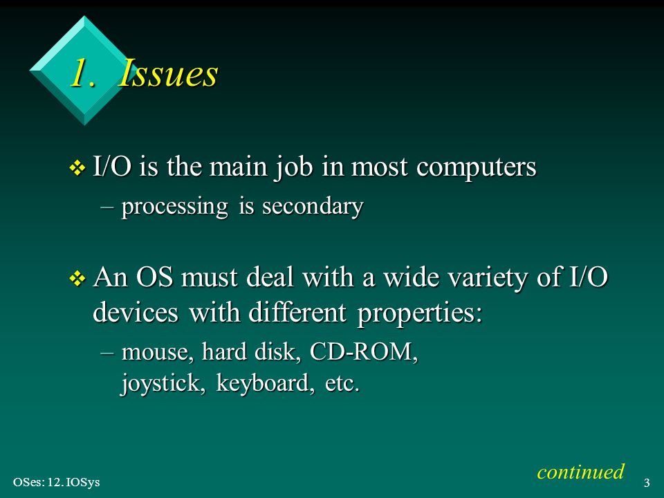 1. Issues I/O is the main job in most computers