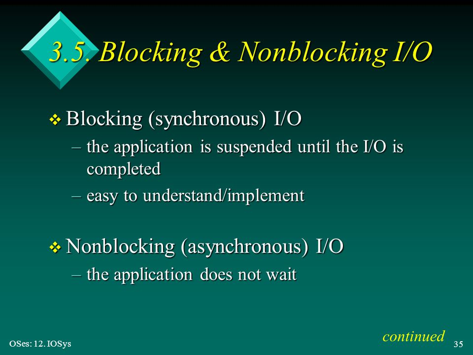 3.5. Blocking & Nonblocking I/O