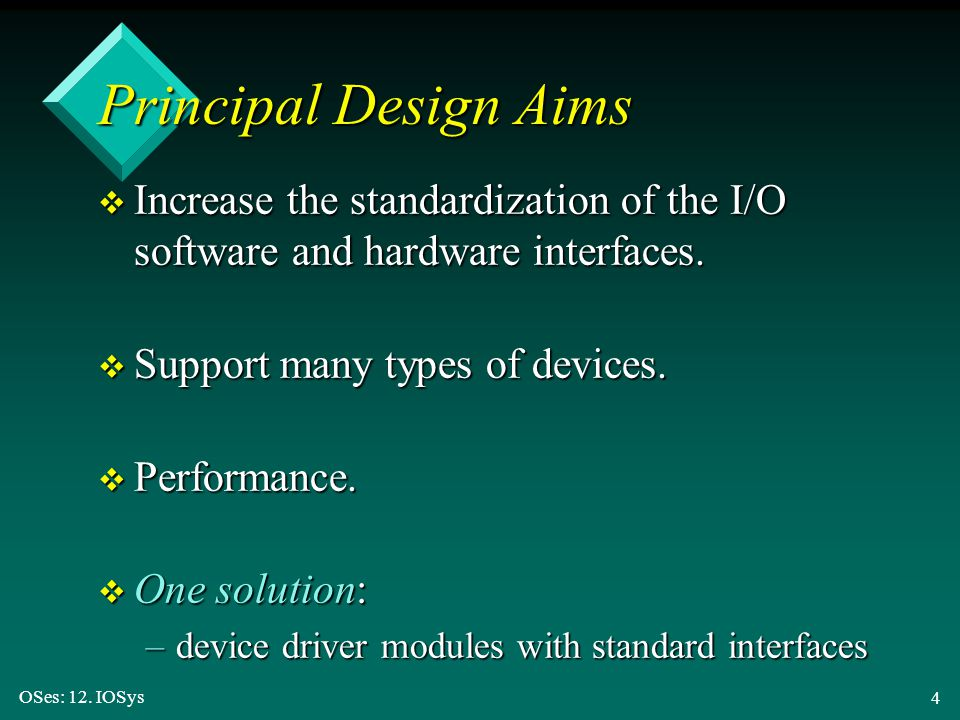 Principal Design Aims Increase the standardization of the I/O software and hardware interfaces. Support many types of devices.