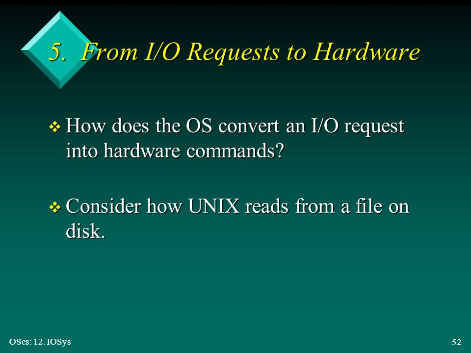 5. From I/O Requests to Hardware