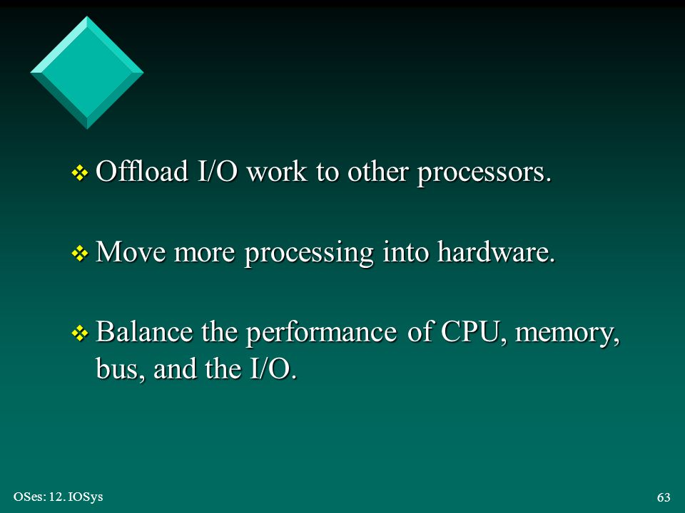 Offload I/O work to other processors.