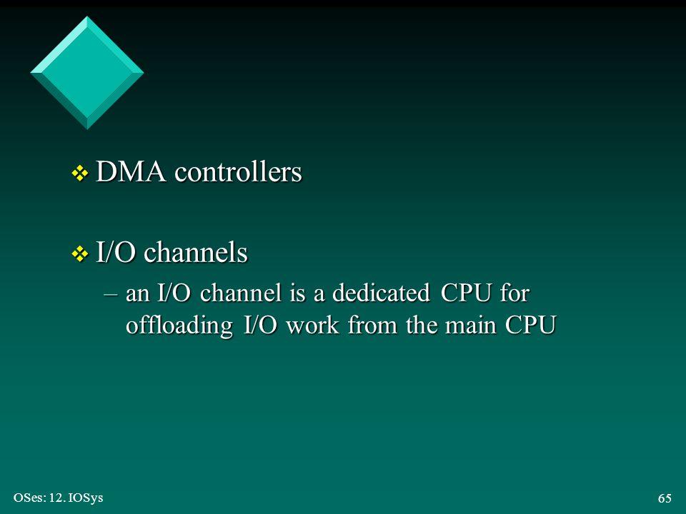 DMA controllers I/O channels